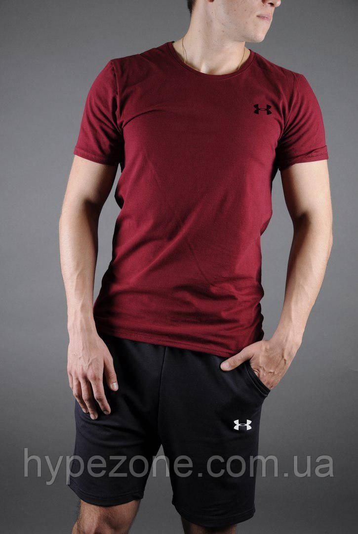 13538e351842 Мужской комплект футболка + шорты Under Armour черного и красного цвета