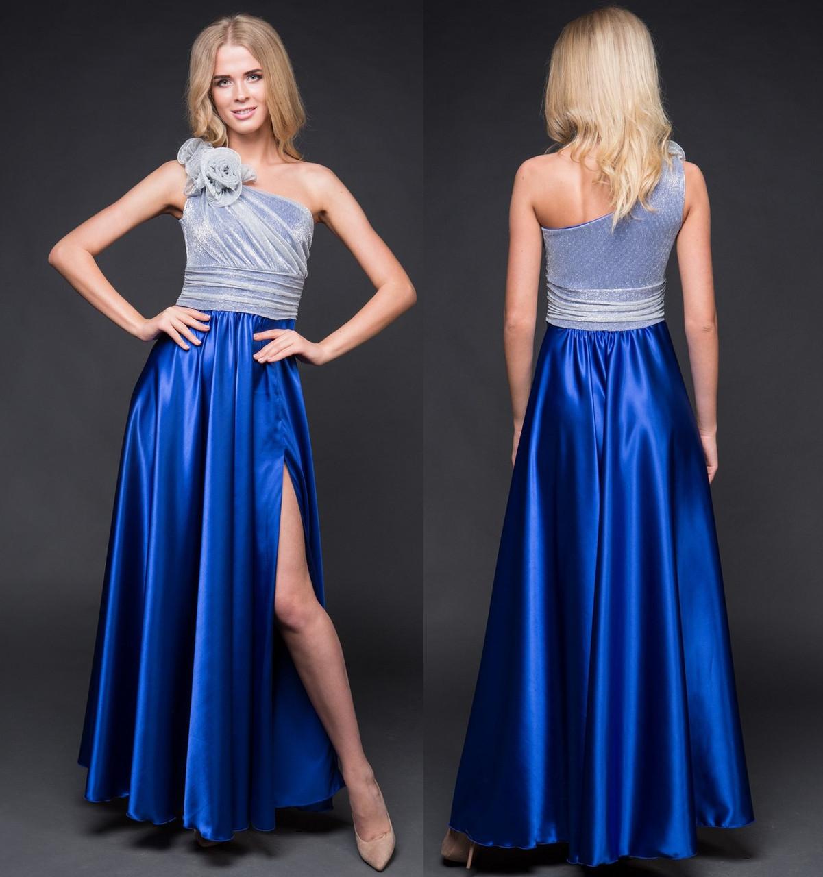 992ef3cd414e23d Платье длинное вечернее с цветком. Синее, 5 цветов. Р-ры: 42-44 и 46 ...