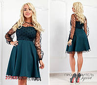 Платье 314 комбинированное с сеткой в горох R-20550 бутылка