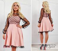 Платье 314 комбинированное с сеткой в горох R-20549 розовый