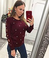 Бордовый свитер декорированный бусинами, фото 1