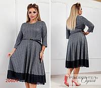 Платье 392 по низу декорировано кружевом R-20604 графитовый