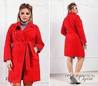 Пальто 2040 с карманами R-20586 красный