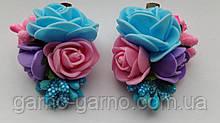 Шпилька для волосся блакитна з трояндами рожевий