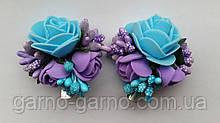 Шпилька для волосся блакитна з трояндами бузковий