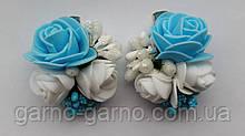 Шпилька для волосся блакитна з трояндами білий