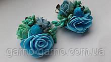 Шпилька для волосся блакитна з трояндами м'ятний