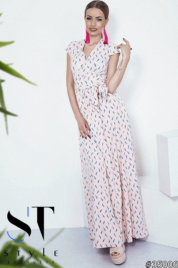 2078c7c24f74819 Летнее платье в пол, на запах с поясом. Пудра, 6 расцветок., цена ...