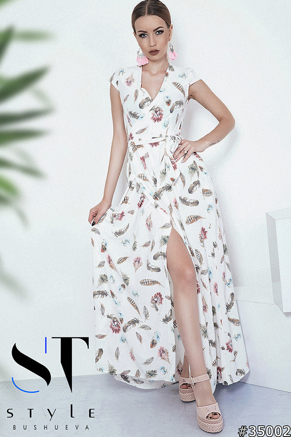 397c942525bf69b Летнее платье в пол, на запах с поясом. Молоко, 6 расцветок., цена ...