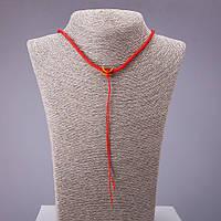 Шнур на шею красный желтый фиксатор 60см