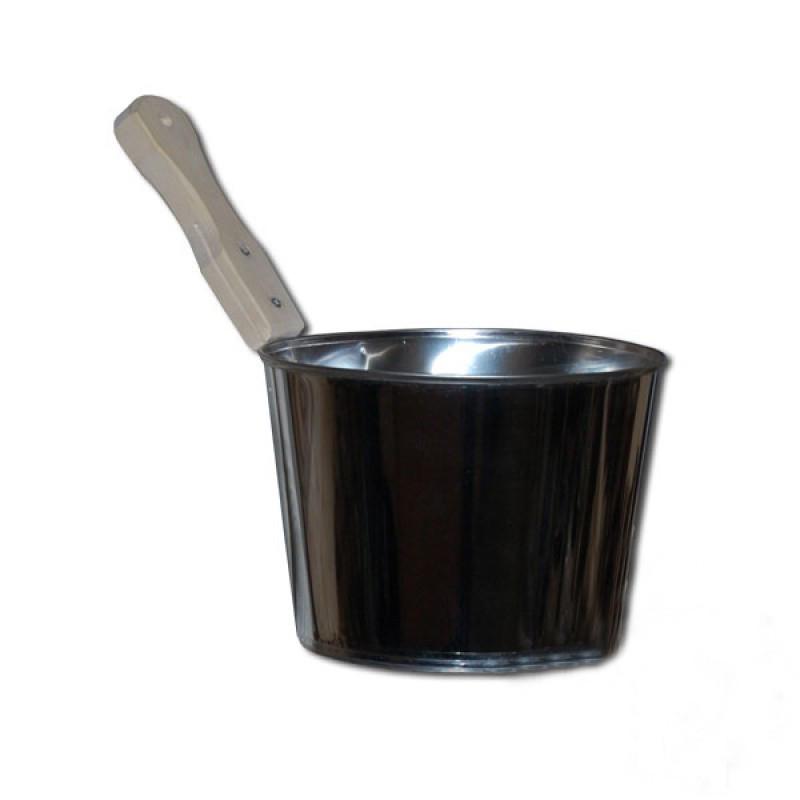 Шайка (ушат) нержавейка 4 л, ручка липа
