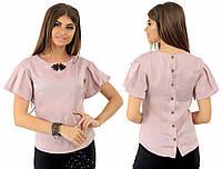 Женская блузка с украшением. Бежевая, 4 цвета. Р-ры: 42,44,46.