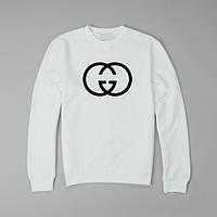 """Свитшот Gucci белый с черным логотипом, унисекс (мужской,женский,детский) """""""" В стиле Gucci """""""""""