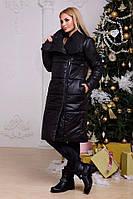 Куртка длинная - одеяло на овчине. Чёрное, 4 цвета.