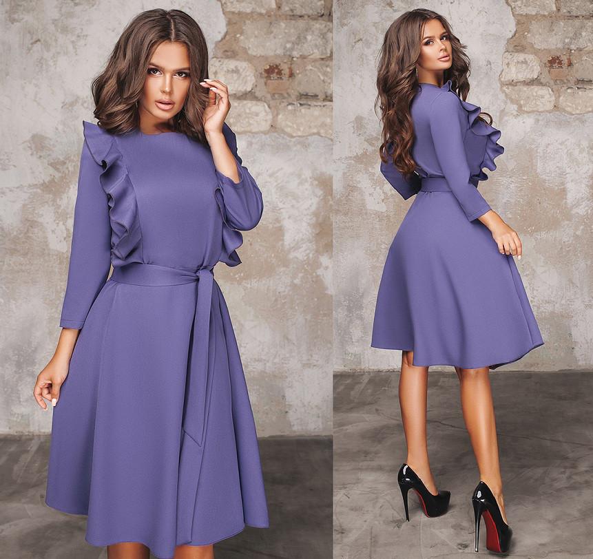 371b242a77a Красивое платье с поясом и рюшами. Фиолетовое