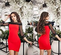 Платье с кружевом. Красное, 5 цветов. Р-ры: 42-44 и 44-46.