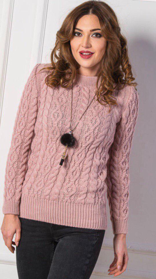 2918ba19b46 Тёплый женский вязанный шерстяной свитер. Пудра