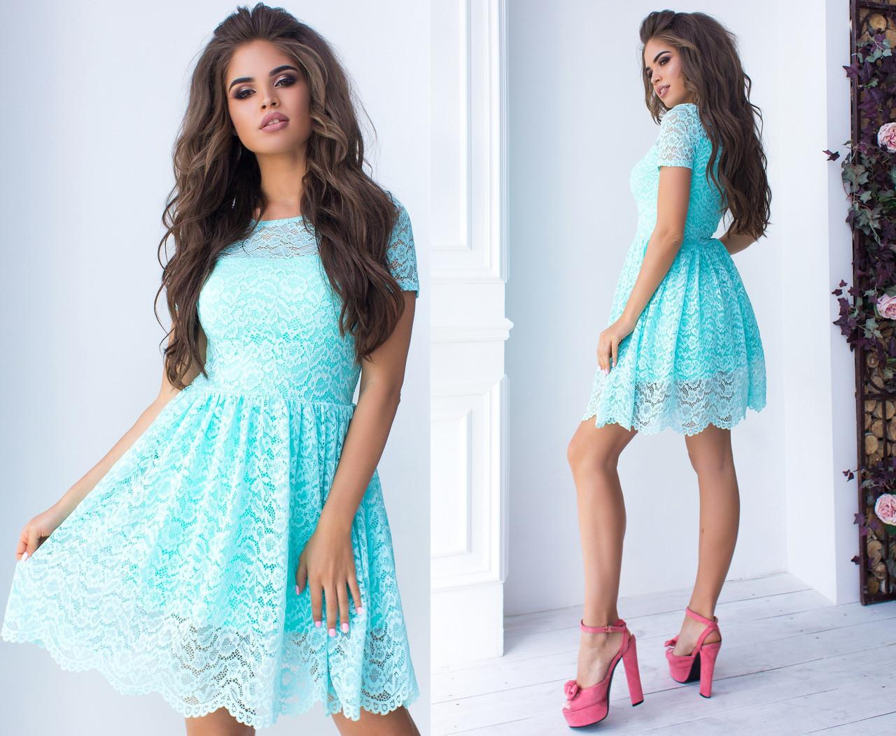 07a0057dd34130d Гипюровое короткое платье на подкладке. Бирюзовое, 8 цветов. Р-ры: 42