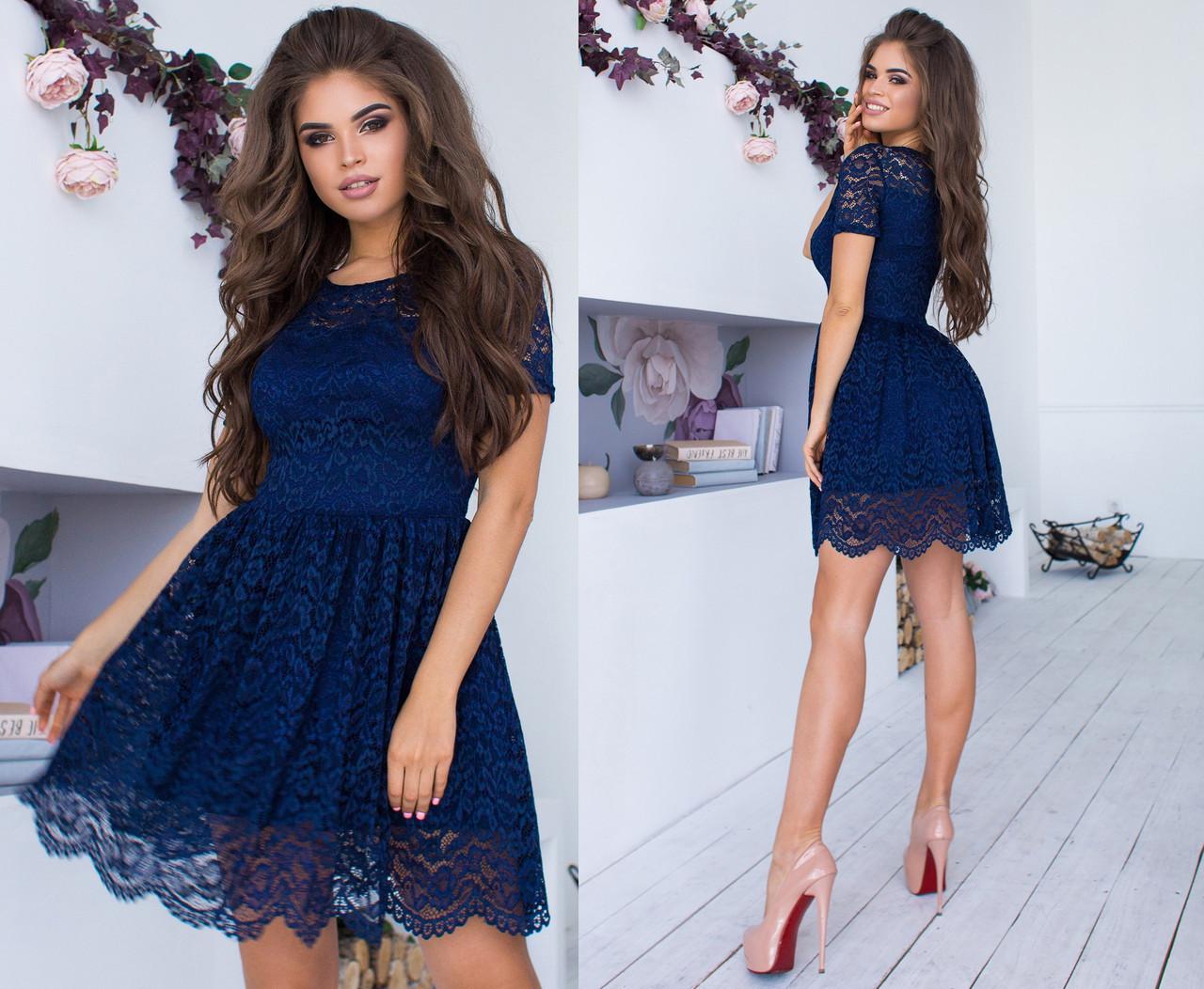 22794e5dad82e4f Гипюровое Короткое Платье на Подкладке. Т.синее, 8 Цветов. Р-ры: 42 ...