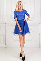 Платье с эко-кожей и отделкой из евросетки. Электрик. 4 цвета. Р-ры: 42-44, 44-46.