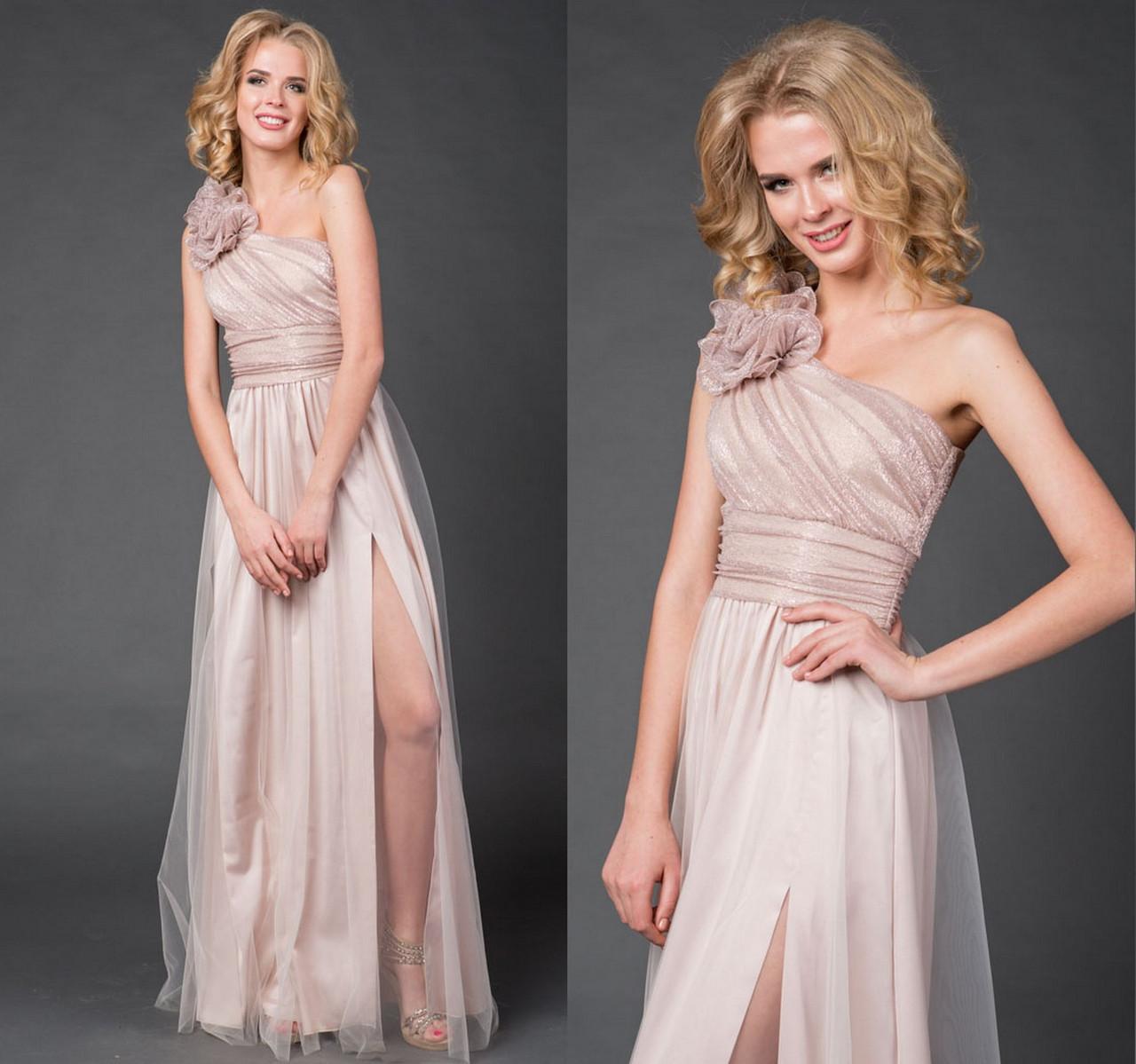 748e9f57acc Длинное Вечернее Платье с Сеткой. Бежевое