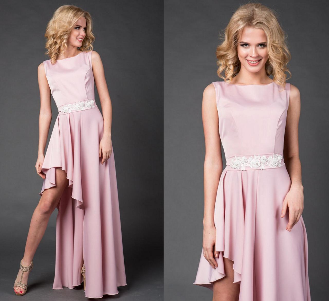 66da7a815431 Асимметричное вечернее платье. Нежно-розовое, 6 цвета. Р-ры  42-44 и ...