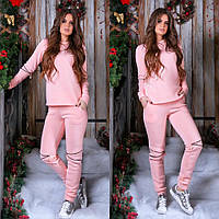 Розовый утепленный женский спортивный костюм декорировано змейкой на  коленях. Арт- 7395 80 0cb6bbe8b02