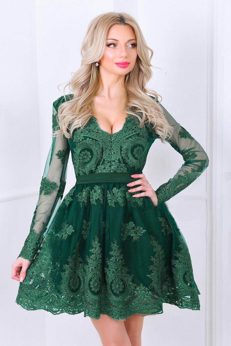 95bd9b8d8a3b42c Шикарное коктейльное платье. Зелёное, 4 цвета. Р-ры: S, M, L., цена ...