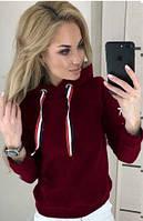 Толстовка жіноча бордового кольору на флісі, фото 1