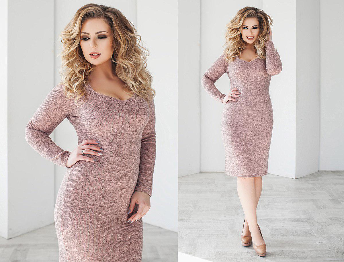 864c3e1ca24 Платье - ангора рубчик. Пудра