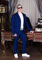 Мужской костюм, синий в клеточку. Р-ры: 44,46,48,50.
