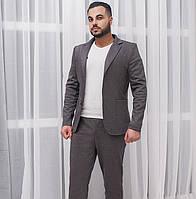 Мужской костюм с пиджаком. Тёмно-серый, 3 цвета.