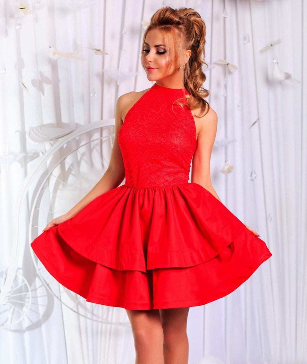 9715234d4c2 Платье с двойной юбкой и гипюром. Красное