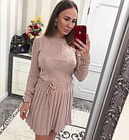 70ee9b341b6 Платье теплое вязанное с юбкой плиссе и красивым узором разные цвета  Smvv2694