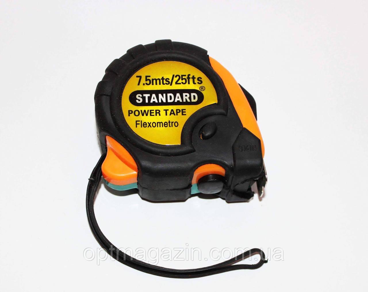 Рулетка измерительная Стандарт 7.5м с магнитом