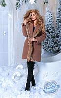 Утепленное коричневое кашемировое женское пальто с отделкой из натурального меха . Арт-7402/80, фото 1