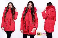 Зимняя куртка женская с мехом большого размера 46,48,50,52