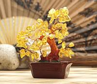 Дерево счастья с камнем цитрин