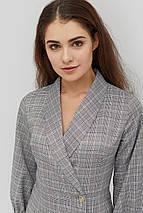 Женское приталенное серое платье с отложным воротником (Exeli crd), фото 2