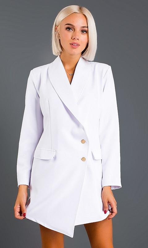 Платье-пиджак,белое 42-44,44-46