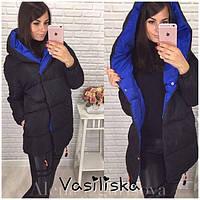 Осенне-зимняя тёплая длинная комбинированная куртка пальто Зефирка с  капюшоном чёрная с синим 42- e4c37479903e4