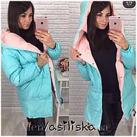 Осенне-зимняя тёплая длинная комбинированная куртка пальто Зефирка с  капюшоном ментол с розовым 42- 8f7ddf6dd2682