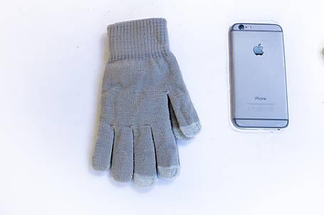 Трикотажные перчатки Корона вязаные Сенсорные 7076-4 серые, фото 2