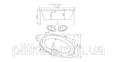 Ванна акриловая MANON RIVA угловая 170х110, фото 3