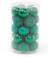 Набор елочных шаров 3см, цвет - классический зеленый, 25 шт: 5 шт - матовый, 10 шт - глитер, 10шт - глянец, фото 1