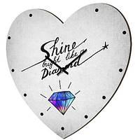 Настенные часы в форме сердца Shine bright like a diamond 36х36 см белые (CHS_P_16L032)
