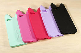 Резиновый 3D чехол для iPhone 5 / 5S / SE с ушками (5 Цветов)