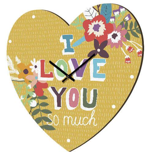 Настенные часы в форме сердца I Love You so much 36х36 см (CHS_P_16L035)