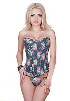 Женский корсет LEAKSA джинс с цветочным принтом V5804