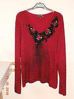 Красный свитер с замшевыми цветами Philippe Carat, фото 1